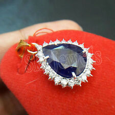 0.76ct NATURAL ROUND DIAMOND 14K SOLID YELLOW GOLD BLUE SAPPHIRE PENDANT