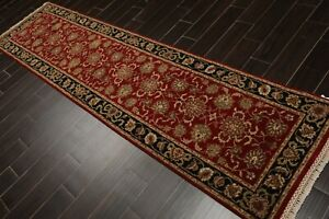 "2'7"" x 10'1"" Hand Knotted 100% Wool Indo Kashaan Oriental Area Rug Red Runner"