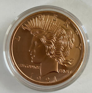 1921 PEACE DOLLAR  1 oz. Copper Round coin  GOLDEN STATE MINT GSM IN CASE