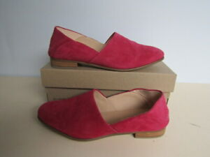 CLARKS CUSHION PLUS Pure Tone Fuchsia Suede UK 6 D Real Leather Flat Shoes NEW
