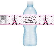 12 Eiffel Tower Paris Birthday Party OR Baby Shower Water Bottle Stickers Labels