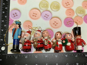 Vintage Lot Of 7 Wooden Christmas Tree Ornaments