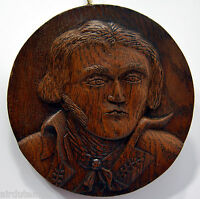 MEDAILLON bois sculpté GENERAL KLEBER chêne XIXè XXè diam 17,7 cm