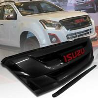 GLOSS BLACK LINE BONNET+FRONT GRILL GRILLE FIT FOR ISUZU DMAX D-MAX 2015 16 17