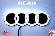 *REAR* AUDI 3D LED WHITE LIGHT FRONT CAR LOGO GLOW BADGE EMBLEM RINGS