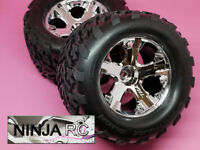 Traxxas Stampede 2WD 1/10 FRONT All Star Chrome Wheels w/ Talon Tires 5576 3671