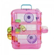 Pink Hamster & Gerbil Cage 3 Storey Tier With Tubes Pet World - BRAND