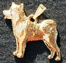 Alaskan Malamute Dog 24K Gold Plated Pewter Pendant Jewelry Usa Made