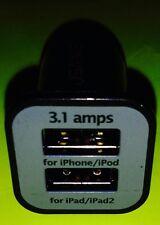 3.1A 2.1A/Amp USB RAPID Car Charger iPad iPad2/iPad3/iPad4/iPad5 mini air retina