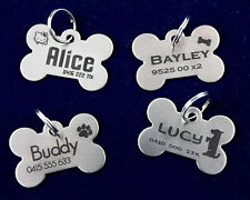 PET TAG PERSONALISED LASER ENGRAVED STAINLESS STEEL DOG CAT ID TAG INCLUDES RING