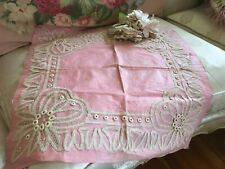 Lovely Antique Tape Lace Pillow Top Cover Pink Cotton Fabric 1880-1900 #B
