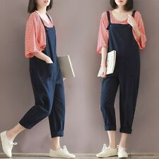 Womens Casual Cotton Linen Loose Harem Long Pants Jumpsuit Overall Plus Size
