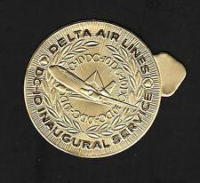 """OPC Vintage Delta DC-10 Inaugural Flight 2 1/4"""" Embossed Gold Foil Label MNH"""