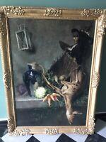Gemälde, Öl/Lw, Stillleben mit Gemüse, erlegtem Reh und Federvieh, sign.,um 1900