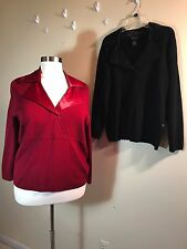 LANE BRYANT Plus Size 22/24 Set (2) Knit Pull Over Satin Trim Rust Black Sweater