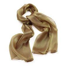 Gold metallic look Scarf Lady Women Shawl Wrap Silk Style Chiffon Scarf