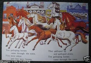 Vintage Glossy School Poster from 1970's - Ten Galloping Horses