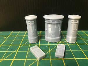 5 English  O Scale  Post Boxes - Unpainted Kit 1/43