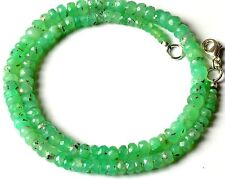"""Natural Gemstone Chrysoprase 3-6MM Faceted Rondelle Beads Necklace 95Cts. 16"""""""
