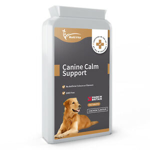 Canine Calm Support - Pet Calming 120 Chewable Chicken Flavour Tablets - UK Made