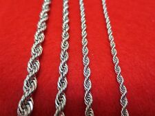 "16""-30"" 2.5/3/4/5mm SILVER STAINLESS STEEL ROPE CHAIN NECKLACE USA SELLER"