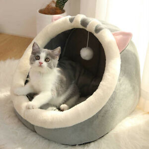 Cat Small Dog House Bed Kitten Pet Igloo Soft Fleece Cave Puppy Cozy