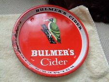 vintage Bulmer's cider tray with the woodpecker on 10 inches across some rust