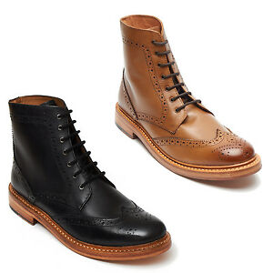 MENS LEATHER BROGUE LACE UP GOOD YEAR WELTED SOLE BLACK & TAN ANKLE BOOTS