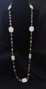 """Rarities Freeform Cultured Pearl & Sapphire Bead Sterling 34"""" Necklace NWT"""