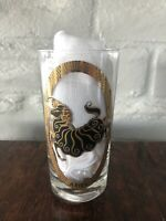"""Vintage Zodiac Drinking Glass Aries - Gilded Gold & Black 5.5"""" tall"""