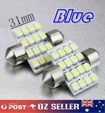 2x 12V Blue Interior Festoon LED Dome Light 16 SMD 1210 Globe 31mm Super Bright