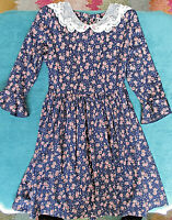 Vtg DISORDERLY KIDS Dress Girls Sz 14 Navy Blue Floral Lace Collar Crowley's NWT