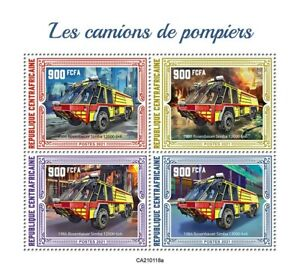 Central African Rep Fire Engines Stamps 2021 MNH Rosenbauer Simba 12000 4v M/S
