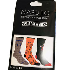 NARUTO SHIPPUDEN COLLECTION - 3 Pair Crew Socks - Men's Size (8-12) Brand New!