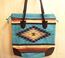 Tote Bag Southwestern Design Monterrey Tote Bag Handwoven Suede Handles, Snap