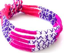 Lot 5 Bracelets Bresiliens de l'Amitié Macramé coton Friendship rose violet