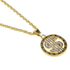 1PC New Hip Hop Dollar Sign Inlaid Rhinestone Pendant Gold Tone Necklace Gifts