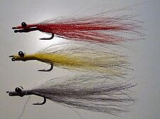 Clouser Minnow size 2 & 1/0 (3 off  Red/Grey/Yellow) –Quality Bucktail 90-110mm