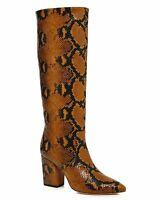 Loeffler Randall Womens Sarina Leather Tall Block Heel Boot Taupe Size: 8.5