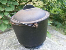Vintage/Antique 3 legged Cast Iron Pot with Lid, has a hair-like crack
