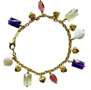 18K Yellow Gold Puffy Heart Pearl Amethyst Quartz Charm Bracelet Bottene Italy