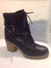 Deena&ozzy Black Ankle Leather Boots Size 6