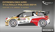 DECALS 1/43 CITROËN DS3 WRC #3 - MEEKE - RALLYE DE POLOGNE 2014 - MF-ZONE D43326