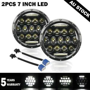 """Pair 7""""Inch Round LED Headlights Hi/Lo Beam DRL Lamp for Hummer H1 H2 2003-2009"""