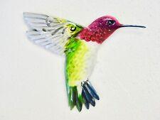 """Home Garden Decor - Hummingbird Wall Art 71172 Metal Pink Multi 7"""" X 6"""" New"""