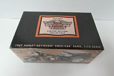 HARLEY DAVIDSON 1947 SERVI-CAR BANK LIMITED EDITION WITH COA 1:12 SCALE DIE CAST
