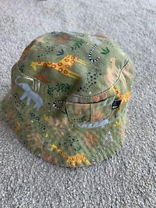 JoJo Maman Bebe Khaki Safari Print Twill Bucket Baby Sun Hat 0-6M