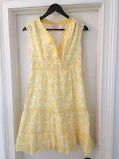 Lilly Pulitzer Yellow White Cotton Silk Fish Print Casual Sun Dress Size 2 EUC