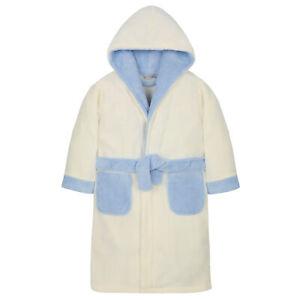 MINIKIDZ Childrens Kids Infant Boys Fleece Hooded Bath Robe Night Gown 2-6 Years
