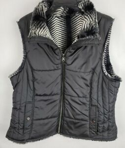 KC Collections Womens Size 2X Black Reversible Quilted Faux Fur Full Zip Vest